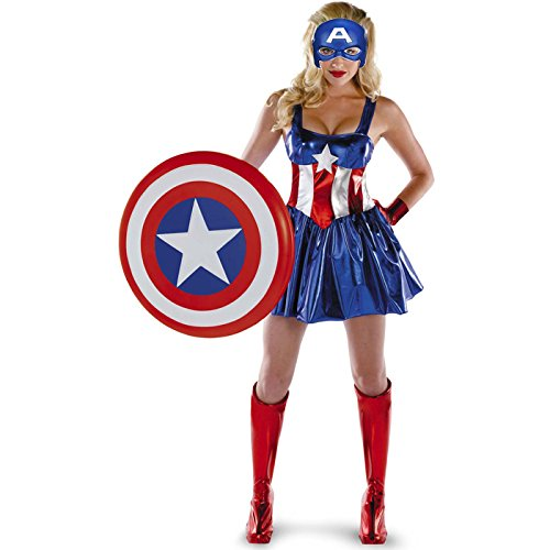 Ladies The Avengers Captain America Fancy Dress Womens Superhero Costume - Size 12 to 14
