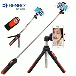 BENRO Handheld & Tripod 3 in 1 Self-portrait Monopod Extendable Phone Selfie Stick with built-in Bluetooth Remote Shutter for iPhone 6s Plus Samsung Galary edge Huawei Xiaomi Gopro Hero 4 (Orange)