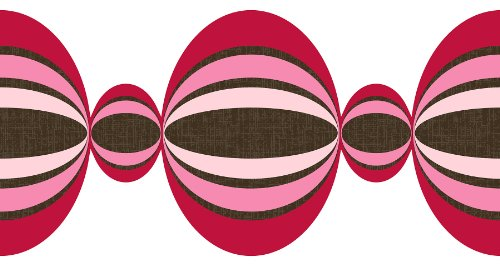Brewster Wall Pops WPS99854 Peel & Stick Loopy Die-Cut Stripe, Red/Pink