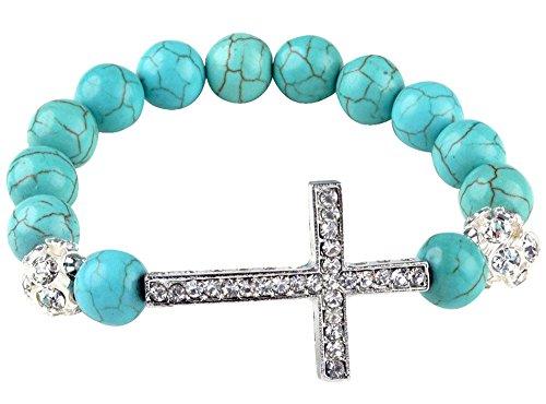 niceeshop(TM) Fashion Turquoise Beads Sideways Cross Adjustable Charm Bracelets