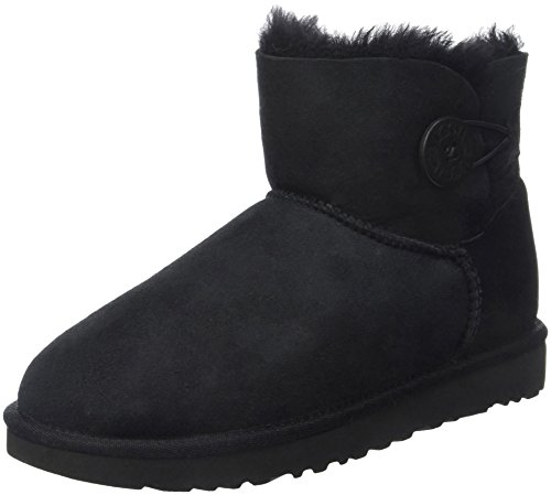 UGG Mini Bailey Button, Stivali Corti Donna, Nero, 38 EU