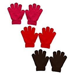 Peach Couture Children\'s Toddler Warm Winter Gloves Value 3 Pack 2-6 Years (Fuchsia, Red, Brown)