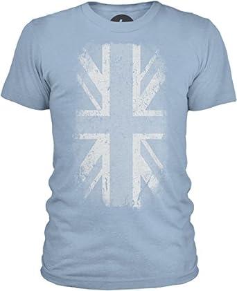 Big Texas Distressed Union Jack Mens Combed Cotton T-Shirt, Azure, S
