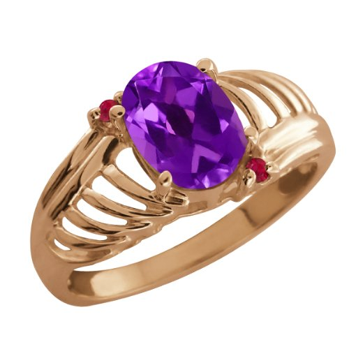 1.04 Ct Oval Checkerboard Purple Amethyst Red Ruby 18K Rose Gold Ring