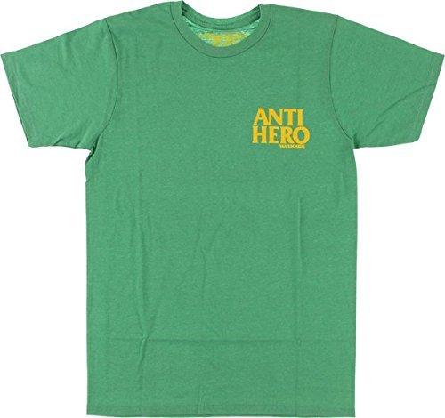 Anti Hero Skateboards Lil Black Hero Kelly Green Heather Small T-Shirt by Anti Herp