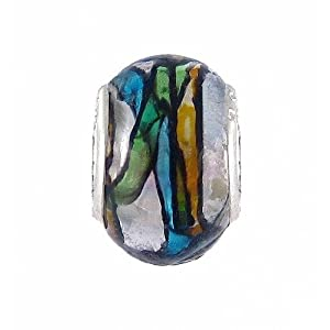 Pandora Style Charm Bead (Z118) Murano Style Glass (14mm x 10mm) (fits Troll too) ~ Solid Single Core Design
