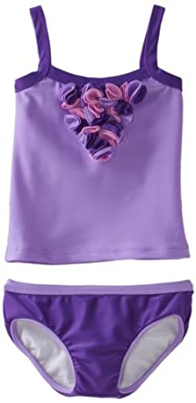 Lemons And Limes Big Girls'  Little Miss Purple Tankini, Purple/Lilac, 8