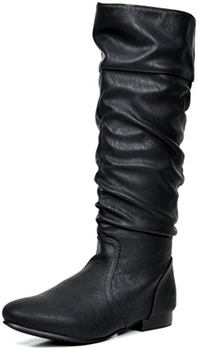 DREAM PAIRS BLVD Women's Fashion Casual Knee High Pull On Slouchy High Fall-Weather Boots BLACK PU SIZE 8.5