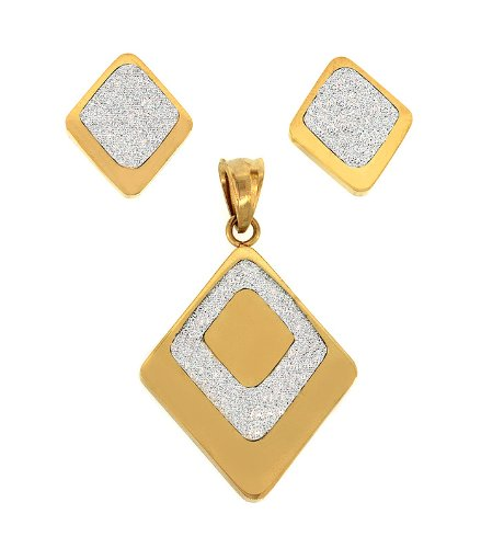 Ladies Two Tone Stainless Steel Shiny Designer Pendant And Earrings Fashion Set