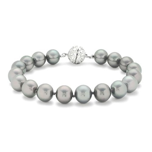 Bling Jewelry Bridal 12mm South Sea Shell Grey Pearl Bracelet