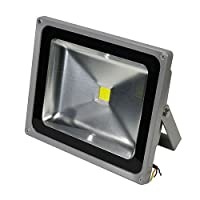 LEDwholesalers 55 Watt LED Waterpoof Outdoor Security Floodlight 100-240 Volt AC, Warm White, 3702WW