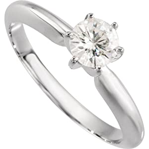 14K White Gold Created Moissanite Solitaire Engagement Ring: 5 mm Size: 12