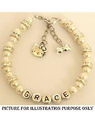 GIRLS AGE RANGE 8-9 YEARS 16.50CM SIZE PERSONALISED WHITE PEARL HELLO KITTY CHARM FRIENDSHIP BRACELET FLOWER GIRL...