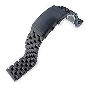21.5mm Super Engineer I 316L SS Watch Bracelet for Seiko Tuna, Ratchet Buckle PVD Black
