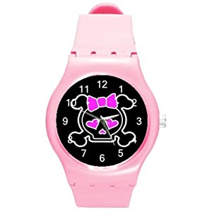 Pink Punk, Goth Skull with Pink Bow on a Pink Plastiic Watch Band