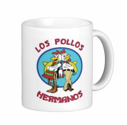 Pair Of Los Pollos White 15 Ounce Coffee Mugs - Custom Coffee / Tea Cups - Dishwasher And Microwave Safe