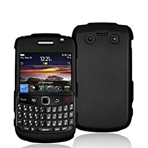 Black Rubberized Snap-On Hard Skin Case Cover for Blackberry Bold 9700 9780 Phone by Electromaster