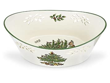 #!Cheap Spode Christmas Tree Pierced Oval Bowl