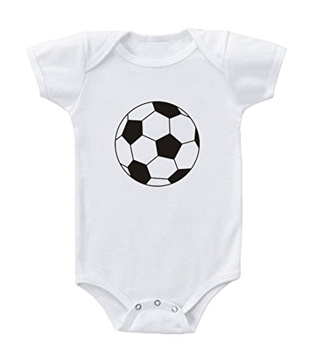 Black And White Soccer Ball Cotton Baby Infant Toddler Baby Bodysuit Creeper White Newborn front-858423