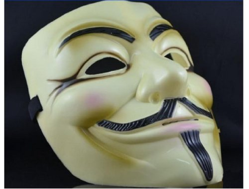 5pcs Mask Guy V for Vendetta Fawkes Mask Anonymous Rubie's DC Comics Halloween Yellow