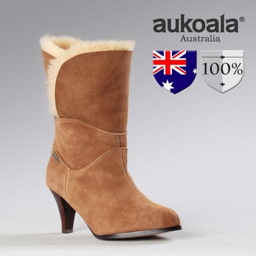 Aukoala Australia Sheepskin Warm Garland Winter Boots For Womens_Chestnut_Us Size 8