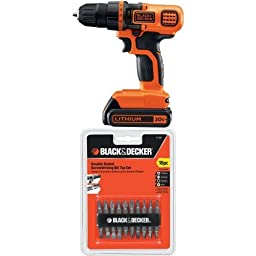 Black & Decker LDX120C 20-Volt MAX Lithium-Ion Cordless Drill/Driver w/ 71-081 Double Ended Screwdriving Bit Set, 10-Piece