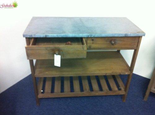 Pflanztisch-antique-look-braun-mit-Zink-Tischplatte-Garten-Deko-97-cm