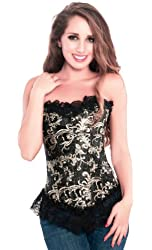 Dark Lure - Designer Overbust Black Brocade Halloween Party Corset Top