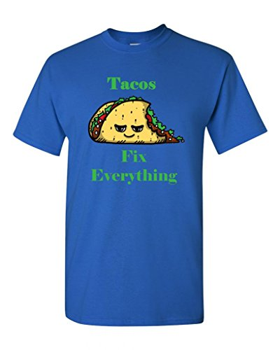Tacos Fix Everything Adult DT T-Shirts Tee (XXXXX Large, Royal Blue) (Royal Cook Tortilla compare prices)