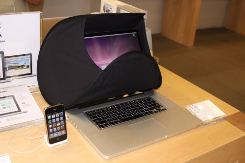 Portable Laptop or LCD privacy and anti glare sun shade - hood for 12