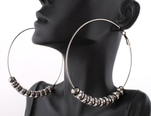 Ladies Alternating Black Iced Out Rondelle Loops & Multifaceted Cut Beads 3 Inch Hoop Earrings
