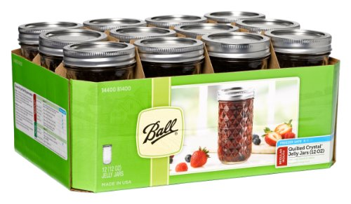 Ball 12-Ounce Quilted Crystal Jelly Jars with Lids and Bands, Set of 12