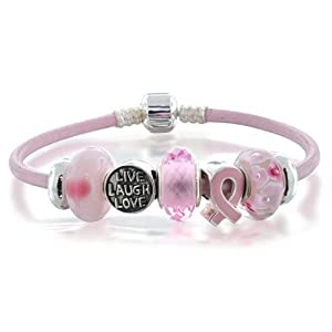 Bling Jewelry Silver Cancer Awareness Pink Ribbon Leather Fits Pandora Bracelet
