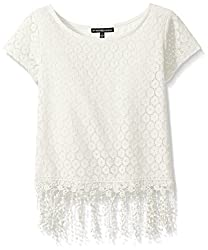 My Michelle Big Girls' Crochet Short Sleeve Top with Fringe Trim At Hem, Off White, Small