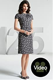 125 Years Short Sleeve Fan Bow Spot Dress