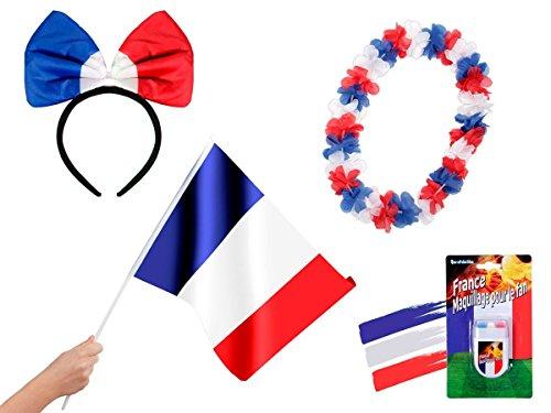 OFFERTA: Kit tifosi Francia (FP-30) Set da 4 pezzi: 1 x cerchietto per capelli con papillon, 1 x bandierina da mano, 1 x Make up stick, 1 x collana hawaiana equipe tricolore les bleus blu bianco rosso