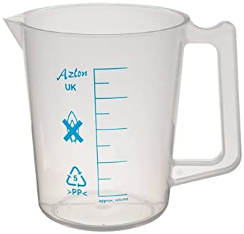 Azlon polypropylene intermediate-form laboratory pitcher with handle and printed graduations