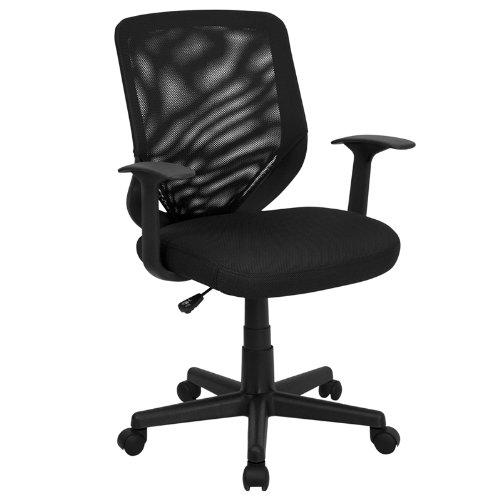 mid-arriere-en-maille-noir-pivotant-tache-chaise-avec-siege-rembourre-en-maille-filet