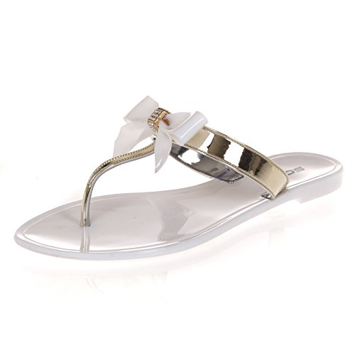 Soda Jelly Bow Thong Flip Flop Two Tone Women Sandal Color White Gold Size 6