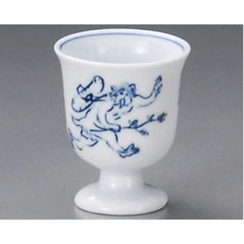 Sake cup [2.21 x 2.68 inch] tga34122-466 Upland cup ( Figure quarrel ) cup wildlife caricature Japanese tradition restaurant fancy