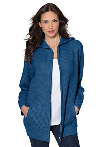 Roamans Women's Plus Size Fabulous Thermal Hoodie Royal Navy,1X (Thermal Hoodie Womens compare prices)