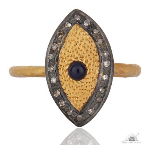Almas Jewellery - Natural Blue Sapphire Pave Diamond Hallmarked 925 Sterling Silver Ring for Women (beige\/sand\/tan)