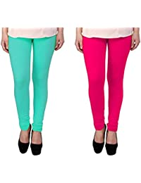 Snoogg Womens Ethnic Chic Inspired Churidar Leggings In Sky Blue And Pink