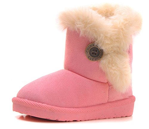 IOO Baby Girls Boys Plush-filled Bailey Button Snow Boots Warm Winter Flat Shoes Pink 21