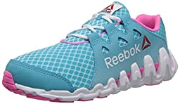 Reebok Zigtech Big and Fast Running Shoe (Little Kid/Big Kid),Neon Blue/Electro Pink/White,6.5 M US Big Kid
