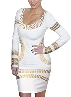 Miusol Celebrity Kim Egypt Gold Foil Print Long Sleeve Bodycon Dress,White,Medium/US Size 8