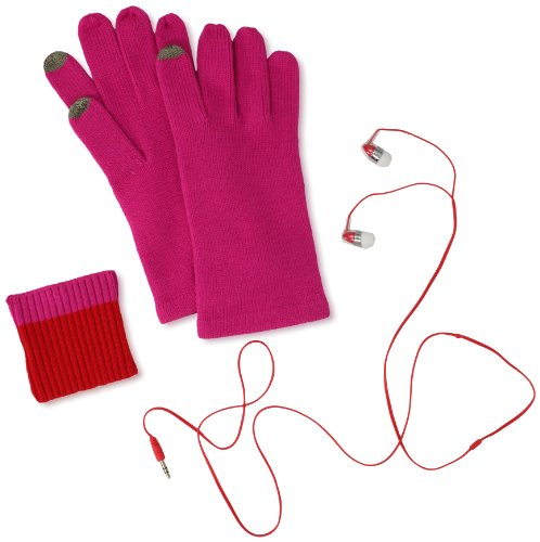 Echo Design Women'S Knit Touch Glove And Earbuds Music Set, Hot Pink, One Size