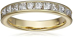 14k Yellow Gold Princess-Cut Diamond Anniversary Band (1.00 cttw, H-I Color, I1-I2 Clarity), Size 9