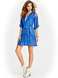 GUESS Women's Teresia St. Tropez Three-Quarter Sleeve Shirtdress
