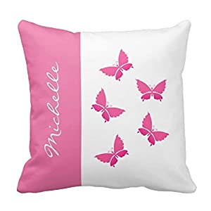 Standard Throw Pillow Cover Sizes : Amazon.com - Monogram Buttrfly Throw Pillows Standard Size 16 X 16 Design Pillow Case Cover For ...